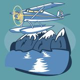 Sea Plane. Passenger Sea Plane is featured flying over mountain lake in this sketch-like vector illustration Stock Photo