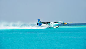 Sea plane. air taxi. Maldives Stock Photography