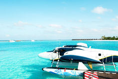Sea plane. air taxi. Maldives Royalty Free Stock Photography