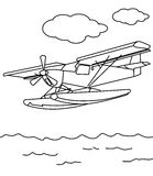 Sea plane coloring page. Hand drawn propeller sea plane coloring page for kids Royalty Free Stock Image