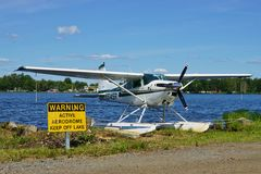 Sea plane at Lake Hood in Alaska Royalty Free Stock Photos