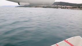 Sea plane landing stock footage