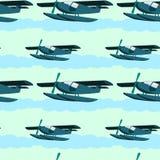 Sea plane seamless background design Stock Images