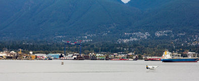 Sea Plane take off in Vancouver, BC. Royalty Free Stock Image