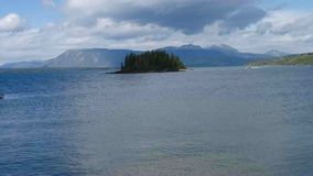 A sea-plane taking off from lake atlin stock video footage