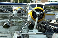 Sea Planes. Float planes at the dock in Victoria, BC stock photo