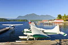 Sea planes at dock in Tofino, Canada Royalty Free Stock Images