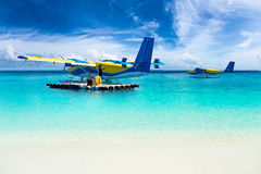 Sea planes in the indian ocean Royalty Free Stock Images