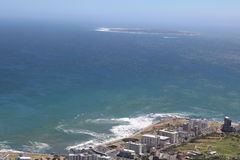 Sea Point, Cape Town, South Africa with Robben Island in the background Royalty Free Stock Image