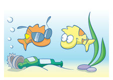 Sea pollution. Fun vector cartoon with fish and sun glasses Royalty Free Stock Image