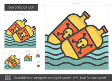 Sea pollution line icon. Royalty Free Stock Photography