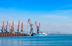 Sea port in Baku city. Caspian sea Royalty Free Stock Images