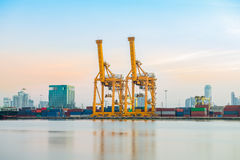 Sea port of Bangkok Thailand. Stock Photos