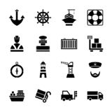 Sea port black icons set with ships and marine transport isolated vector illustration royalty free illustration