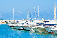 Sea port with boats in the beautiful sunny day Royalty Free Stock Images