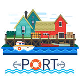Sea Port. Boats with a cargo. Warehouse. Vector flat illustration Royalty Free Stock Image