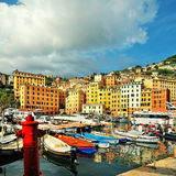 Sea port in Camogli with blue sky stock photos
