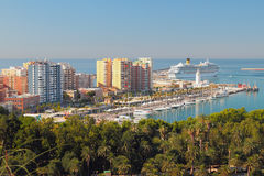 Sea port city. Malaga, Spain Royalty Free Stock Images