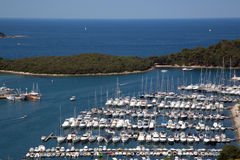 Sea port in city of Vrsar stock images