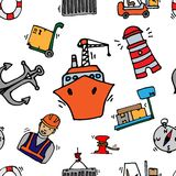 Sea port colorful icons pattern Royalty Free Stock Photo