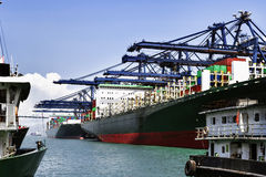 Sea port and cranes in the cargo Stock Image