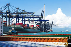 Sea port and cranes in China Stock Image