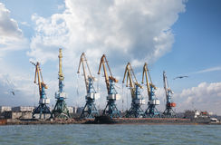 Sea port with cranes and docks Stock Photo