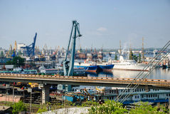 Sea port with cranes and ships Stock Images