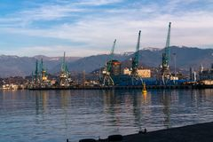 Sea port in evening, Batumi. Royalty Free Stock Images