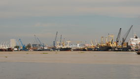 Sea port in Ho Chi Minh City. Shot in 4K - 3840x2160, 30fps stock footage