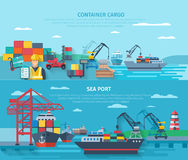 Sea Port Horizontal Banner Set. With container cargo elements flat  vector illustration Stock Photography