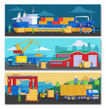 Sea Port Horizontal Banners. With ship at dock goods storage and preparing for containers loading vector illustration Stock Photos
