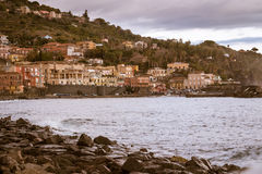 Sea port and houses in Sicily. Royalty Free Stock Images