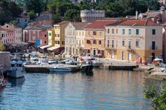 Sea port and houses at Veli Losinj. Croatia Stock Photos
