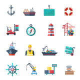 Sea Port Icons Set. Sea port icons flat set with marine shipping isolated vector illustration Royalty Free Stock Photos