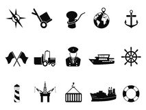 Sea port icons set Stock Photos
