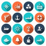 Sea port icons set. Sea port nautical journey transportation icons set isolated vector illustration Stock Photos