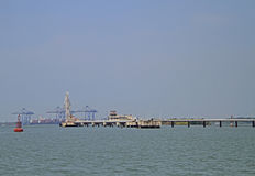 Sea port of Kochi, India. Ships in sea port of Kochi, India royalty free stock photo