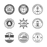 Sea Port Label Set. Sea port marine transport and cruise shipping label set isolated vector illustration Stock Photos