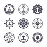 Sea port label set. Sea port ocean transport label black set  vector illustration Royalty Free Stock Image