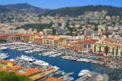 Sea port of Nice city, France. Tilt-shift effect. Aerial view of sea port of City of Nice, France. Tilt-shift miniature effect Stock Photography