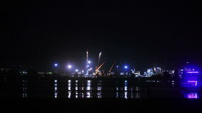 Sea Port of night. Boat sails from man standing near sea port night stock video footage