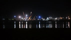 Sea Port of night. Boat sails from man standing near sea port night stock video