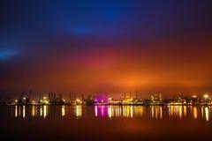 Sea port and night lights. Regata Tall ship in the Varna`s Harbor, Bulgaria. Regata Tall ship in the Varna`s Harbor ,Bulgaria Royalty Free Stock Photography