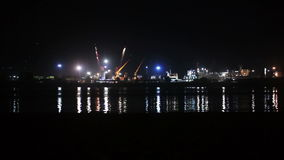 Sea Port of night summer stock video footage