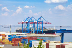 Sea Port in Odessa, Ukraine, 2016. Hoisting crane and ship Royalty Free Stock Photography
