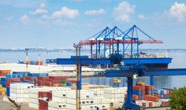 Sea Port in Odessa, Ukraine, 2016. Hoisting crane and ship Stock Photography