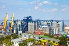 Sea Port in Odessa, Ukraine, 2016. Hoisting crane and ship Stock Photos