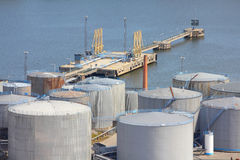 Sea port oil tanks Royalty Free Stock Photography