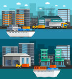 Sea Port Orthogonal Banners. Orthogonal banners with sea port and cargo boats warehouse and truck on city background isolated vector illustration Royalty Free Stock Photography